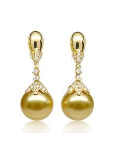 Boucles oreilles lignes Classique. Perles Australie, diamants Or jaune