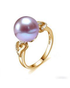 Bague coeur de perle diamanté - Or jaune et Perle d'eau douce Lavande
