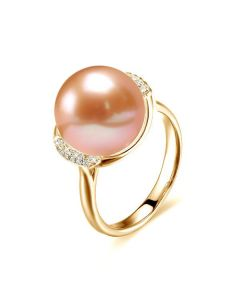 Bague circulaire plateau or jaune diamants - Perle culture rose