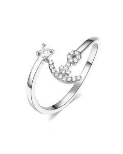 Bague enclume de bateau. Or blanc 18cts, diamants 0.11ct  | Gemperles