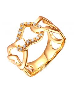 Bague or jaune diamants en forme de succession de coeurs