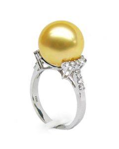 Anello Montebello - Perla dei Mari del Sud Dorata e Oro Bianco