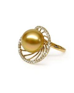Anello oro giallo, diamanti - Perla d'Australia dorata - 11/12mm