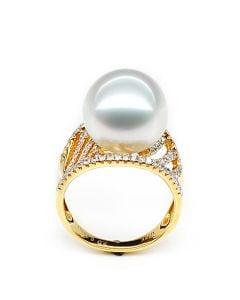 Anello Cocos - Perla dei Mari del Sud Bianca e Oro Giallo