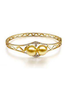 Bracelet joaillerie jonc - 2 Perles d'Australie dorées - Or, diamants