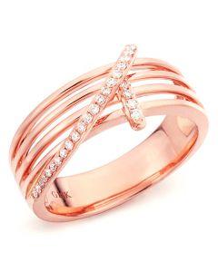 Bague 4 anneaux liés - Or rose - Diamants sertis grains