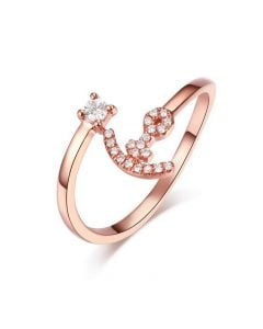 Bague enclume de bateau. Or rose 18cts, diamants 0.11ct | Gemperles