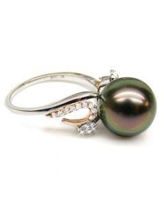 Bague deux ors - Perle de Tahiti noire, paon - Diamants