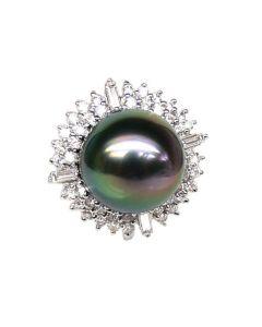 Anello Mahina - Oro Bianco, Diamanti e Perla di Tahiti