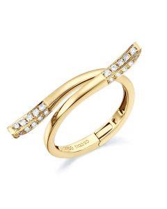 Bague anneau type pendentif. Cœur or jaune diamants | Polichinelle