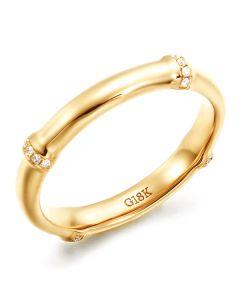 Anello bambù oro giallo 18ct - Anello lusso e diamanti | Bambù