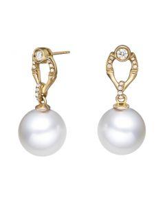 Boucles d'oreilles bambou en or jaune, perles et diamants