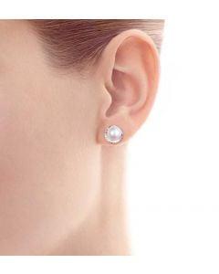 Orecchini Hinata - Perle Akoya su Corona in Oro Bianco e Diamanti