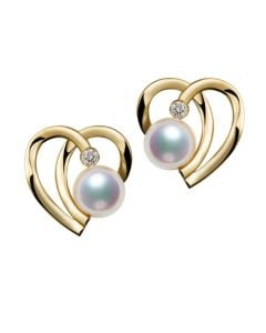 Boucles Coeur contemporain Or jaune. Perles Akoya, Diamants.