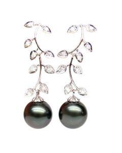 Orecchini Pendenti Ibiza - Perle di Tahiti Nere, Diamanti, Oro Bianco