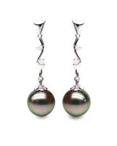Boucles oreilles perles de Tahiti noires - Style contemporain - Or blanc