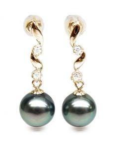 Pendants contemporains - Perles de Tahiti noires, bleues - Or jaune