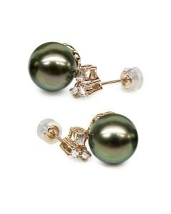 Boucles oreilles perles Tahiti - Or jaune - Diamants ronds, émeraudes
