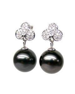 Orecchini Pendenti Trifoglio - Perle di Tahiti, Diamanti, Oro Bianco