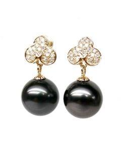 Orecchini Pendenti Trifoglio - Perle di Tahiti, Diamanti, Oro Giallo