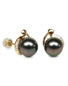 Orecchini A Lobo Arabella - Perle di Tahiti Nere, Oro Giallo
