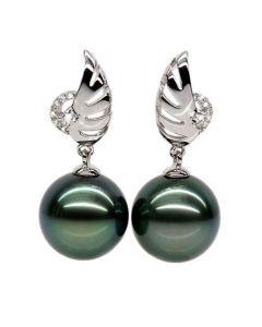 Boucles oreilles ailes - Symbole liberté - Perles de Tahiti or blanc