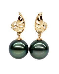 Orecchini Pendenti Liberty - Perle di Tahiti Nere, Oro Giallo