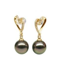 Orecchini Pendenti Pétronille - Perle di Tahiti Nere, Oro Giallo