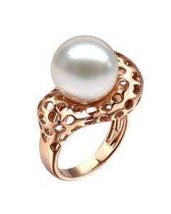 Anello Corallo - Perla dei Mari del Sud Bianca e Oro Rosa