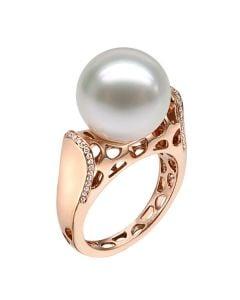 Bague signature perle des mers du sud - Corail starlette diamanté