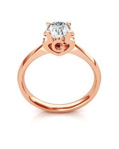 Bague prénom - Lettre G - Diamant, or rose | Gemperles