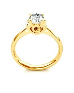 Bague prénom - Lettre G - Diamant, or jaune | Gemperles