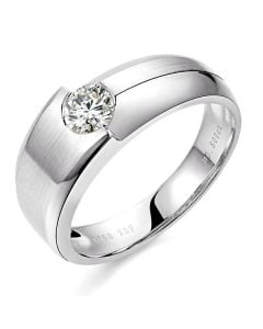 Bague homme duo d'or blanc serti d'un diamant de 0.50ct | Gemperles