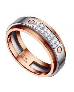 Bague pour homme métal or rose brossé et blanc poli. Diamants