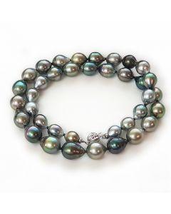 Collier Moana - Sautoir perles de Tahiti baroques multicolores