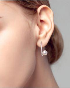 Orecchini Pendenti Réflexion - Oro Bianco, Diamanti & Perle Akoya
