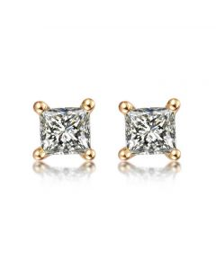 Puces diamants taille princesse 0.20ct. Or jaune. Personnalisable