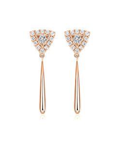 Boucles d'oreilles diamants Or rose pendantes forme goutte