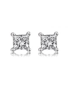 Puces diamants taille princesse 0.20ct. Or blanc. Personnalisable