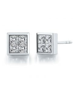 Boucles puces diamants princesse 0.40ct. Or blanc. Personnalisable