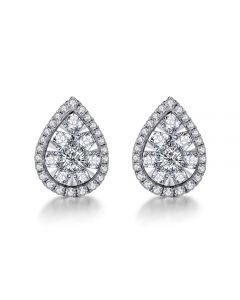 Boucles Oreilles goutte diamants. Or blanc 18cts. Diamants 0.40ct