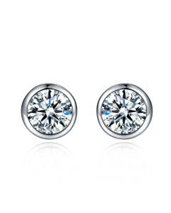 Puces diamants serties clos 0.40ct. Or blanc. Carat personnalisable