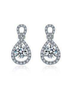 Orecchini Pendenti Goccia. Oro bianco e diamanti