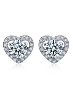 Boucles Oreilles diamants 0.60ct. Or blanc. Coeur