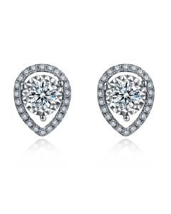Boucles Oreilles Or blanc diamants 0.32ct. Forme goutte