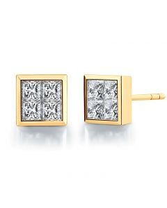 Boucles puces diamants princesse 0.40ct. Or jaune. Personnalisable