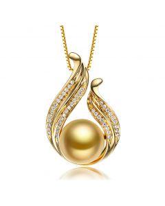 Ciondolo vegetale - Perla gold - Oro giallo, diamanti