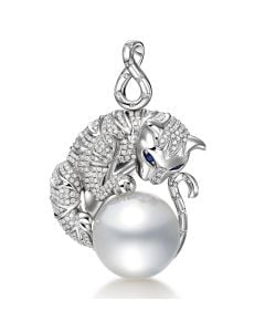 Pendentif Chat - Perle d'Australie, or, diamants - Kingdom of Animals