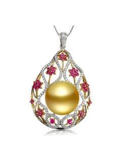 Ciondolo due ori, diamanti, zaffiri - Perla d'Australia dorata - 15/16mm