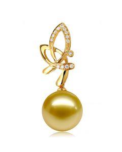 Ciondolo Allégra - Oro Giallo, Diamanti & Perla Gold dei Mari del Sud